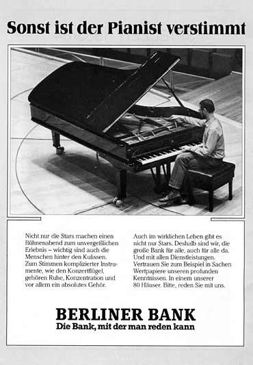 Sonst ist der Pianist verstimmt Werbeanzeige